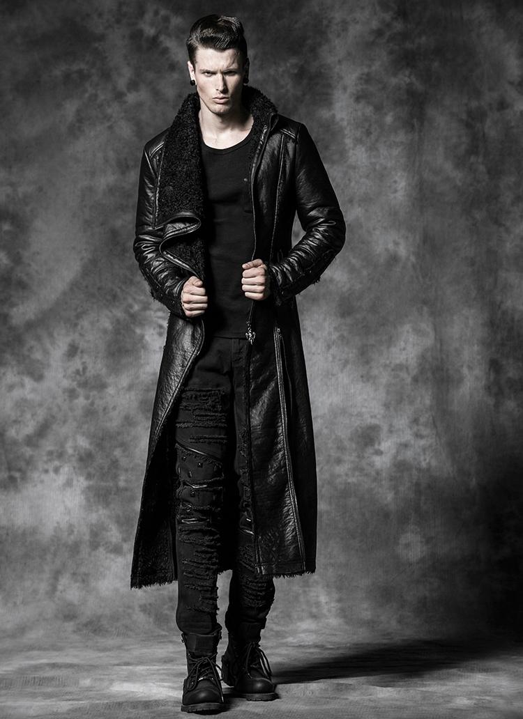34eb40654a22 Long manteau cuir noir